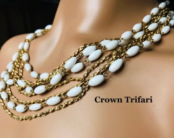Vintage Crown Trifari Gold Tone Faux Pearl and Clear Rhinestone Choker Necklace with Geometric Zigzag Design