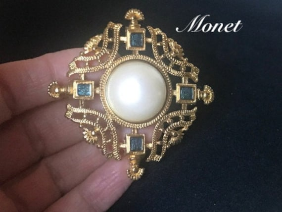 Gold filigree pearl and blue crystal brooch,Monet… - image 1