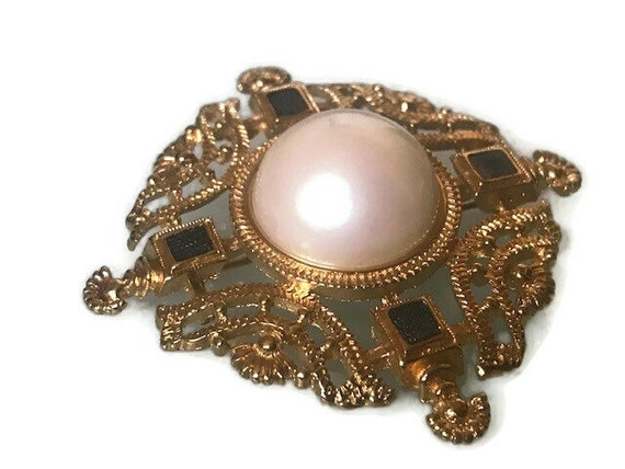 Gold filigree pearl and blue crystal brooch,Monet… - image 4