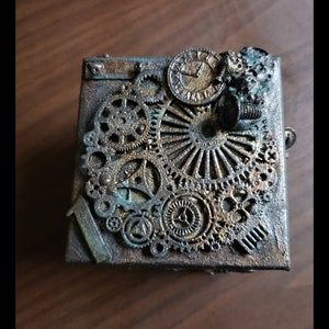 Upcycled circuit board small steampunk gear cogs art skull cat wing key