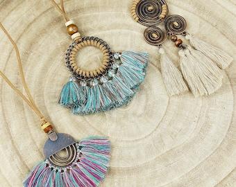 Mothers day gift, Gemstone charm Tassel charm necklace Tassel pendant Silk tassel Boho tassel necklace Long charm necklace