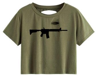 Repurposed distressed women\u2019s army crop top