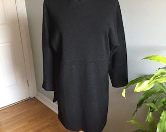 Size L 1980/'s Black Wool Beaded Dress by Andrea Jovine