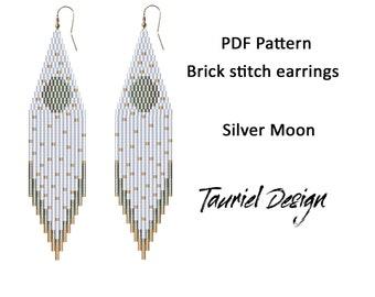 PDF Pattern for earrings, Brick stitch pattern, Fringe beaded earrings pattern, wedding earrings pattern, moon pattern