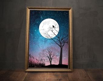 Museum Quality Photo Art Print Wall Art, Moon Sunset Print Red and Blue Sky Full Moon Print