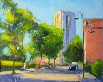 """Cityscape Painting City Original Art Urban Street Artwork 5 by 6"""" by MyxaArt by Tati"""