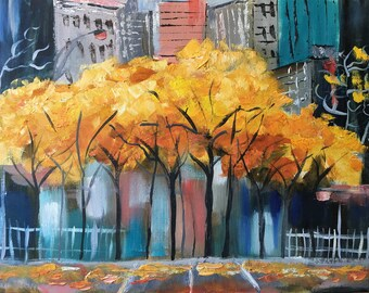 """Cityscape Painting Trees Original Art Urban Street Artwork 13 by 17"""" by MyxaArt by Liudmila"""