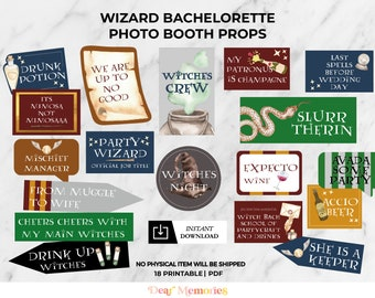 Wizard bachelorette Party Photo Booth Props, magic theme bachelorette party , Wizard photo props, Instant Download - DIY Printable