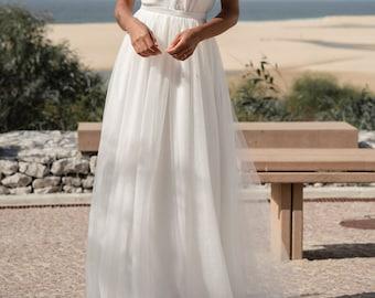 Floaty wedding skirt soft tulle, Boho bridal skirt, Beach wedding skirt, 2  piece wedding dress, Contemporary bridal separates - Sage skirt