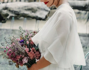 Bridal cape made of silk chiffon, wedding dress cover up, bridal jacket, bolero, shrug, bridal topper, sheer wedding capelet - Mina Cape