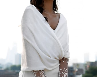 Wedding shawl made of wool, wedding wrap, bridal jacket, bolero, shrug, wedding dress cover up, bridal topper, winter wedding - Luna Shawl