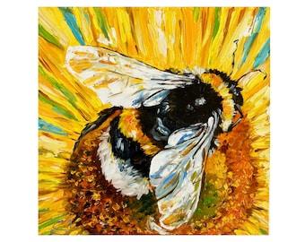 Honeybee Painting Original Artwork bumble Bee Painting Insect Art Original Oil  Honey Bee Painting Small Wall Art Tiny painting