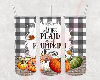 20oz Skinny Fall Plaid & Pumpkins Sublimation Tumbler