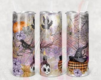20oz Skinny Halloween Shimmer Sublimation Tumbler