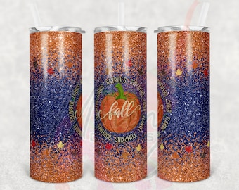 20oz Skinny Fall Ombre Sublimation Tumbler