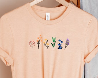 LGBTQ Wildflowers Shirt, Cute Pride T-Shirt, Queer Girls Tees, Lesbian Shirt, LGBT Pride Tee, Queer Gift, Gay Flower Shirt, Rainbow Flowers