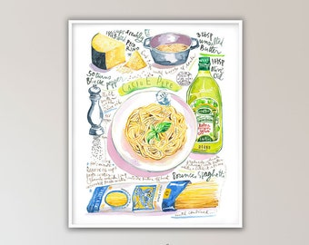 Italian pasta recipe print, Italy wall art, Watercolor painting, Europe artwork, Spaghetti poster, Large kitchen decor, Food illustration