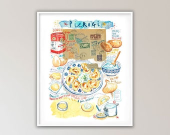 Polish kitchen wall art, Large pierogi recipe illustration poster, 8X10 print, European cuisine, Watercolor painting, Poland food artwork