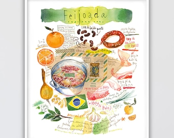 Brazilian food poster, Feijoada recipe print, Large wall art, Watercolor painting, Cook in Brazil, South America kitchen decor, Brazil gift