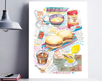 Argentinian food poster, Alfajores recipe print, Watercolor painting, Cook in Argentina, South American restaurant decor, Kitchen wall art