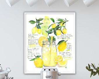 Homemade Lemonade recipe poster, Large kitchen art, Watercolor painting, Yellow dining room decor, Restaurant wall art, 8X10 lemon print