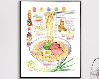 Ramen recipe poster, Japanese noodle illustration print, Watercolor painting, Japan food artwork, Asian kitchen decor, Large wall art, 8X10