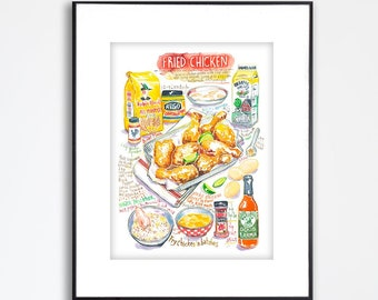 Southern Fried Chicken recipe poster, Kitchen wall art, Soul food print, Large restaurant decor, Foodie gift, Watercolor painting, 8X10 art