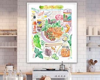 Vietnamese Rice Noodle Bowl recipe print, Vietnam kitchen wall art, Asian restaurant decor, Large food poster, Watercolor painting, 16X20
