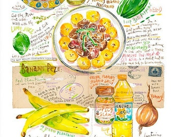 Haitian Griot and Fried Plantain recipe poster, Haiti kitchen art, Caribbean food print, Watercolor painting, Large wall art, Creole cuisine