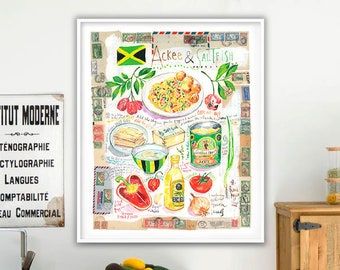 Caribbean wall art, Jamaican Ackee and Saltfish recipe poster, Large kitchen decor, Watercolor painting, Jamaica food print, Cooking artwork