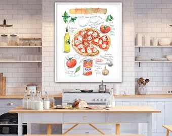 Pizza poster, Watercolor painting, Italy themed Kitchen wall art, Large Italian restaurant decor, Pizza art print, Red dining room food art