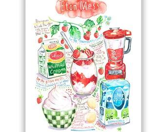 English dessert Eton Mess recipe poster, British food art, Watercolor painting, Large restaurant decor, 8X10 print, Colorful kitchen gift