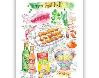 Fried Fish Balls recipe poster, Chinese food print, Watercolor painting, Taiwanese cuisine, Hong Kong cooking, Large Asian kitchen wall art