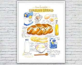 Challah recipe poster, Watercolor painting, Jewish bakery print, Kitchen decor, Shabbat food artwork, Large wall art, Cooking illustration