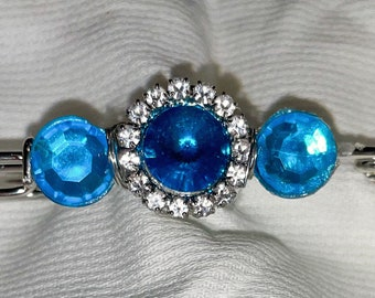 Turquoise and 'diamond' silver stock tie pin