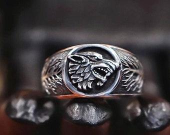 USA Game of thronesVintage Stark wolf Ring Bronze Unisex Cosplay Jewerly Gift