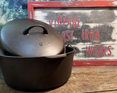 Griswold Iron Mountain No. 8 Dutch Oven with Self Basting Lid, p n 1036 1037, Vintage Cast Iron, Antique Collectible Cookware