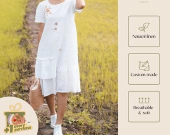 Embroidered white dress, Drop waist linen dress, Short sleeve dress, Midi dress, Pocket dress, Casual dress | Custom made by Meira Linen