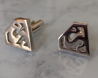 Vintage Clark Cuff Links Silver Gold Toned Rectangle With Oval Accent Need Cleaned Used