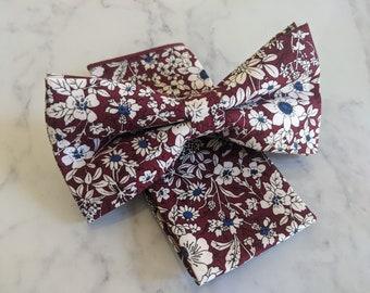 Burgundy Floral Cotton Bow Tie & Pocket Square
