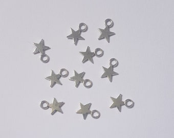 Lot of 10 silver star charms for jewelry creation