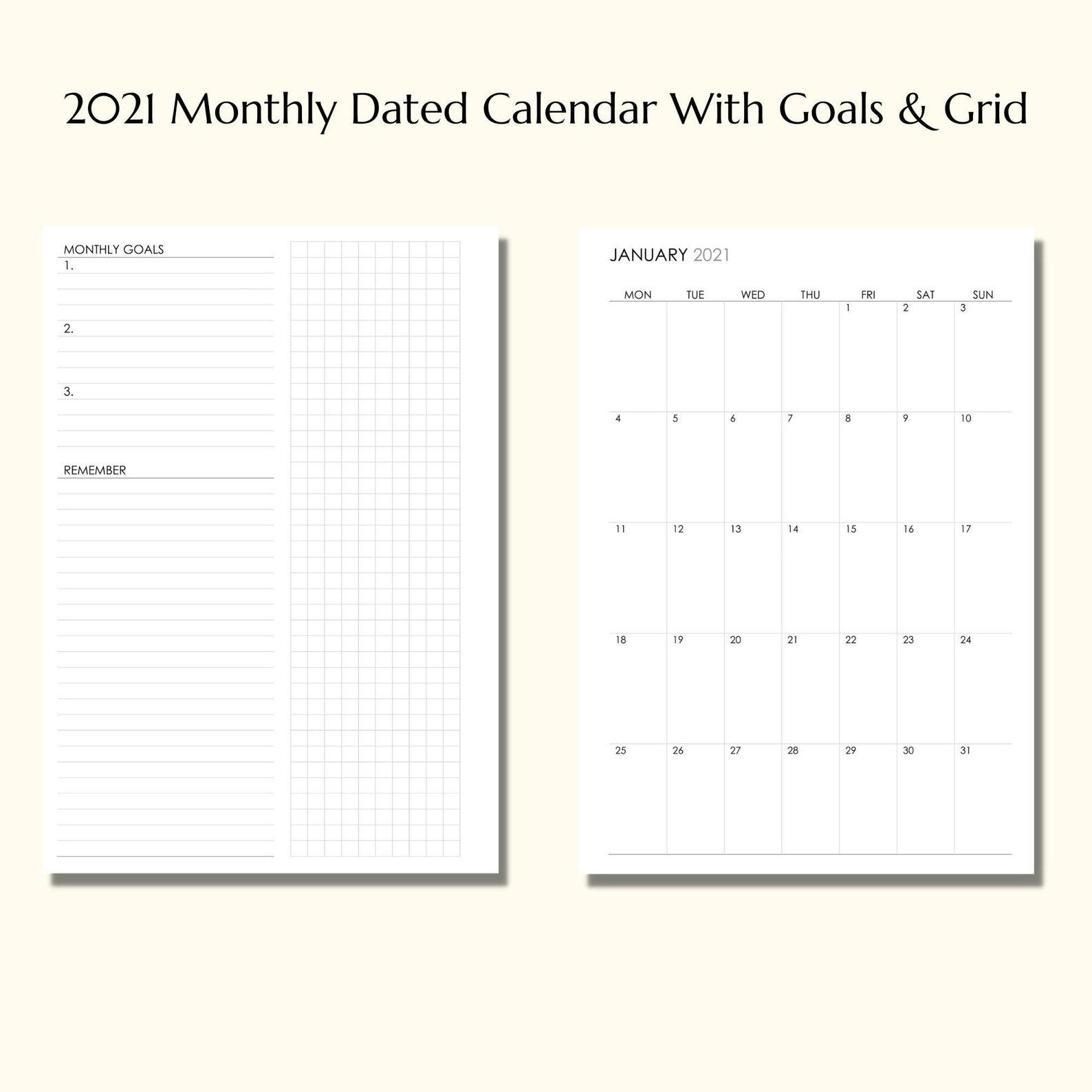 2021 Monatlich datierter Kalender mit Zielen & Raster | Etsy
