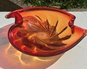 Vintage Italian Murano Sommerso Mid-Century Venetian Burnt Orange Red Art Glass Centrepiece Bowl Spiral Freeform Design