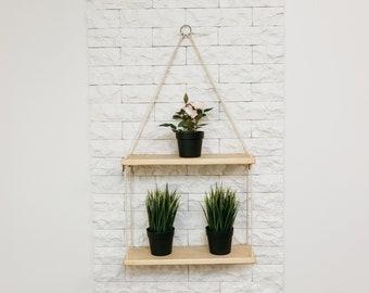 Hanging shelf, Double Floating Shelf, Reclaimed Wood, Plant Shelf, Rope Shelf, Wooden Shelf, Swing Shelf, Wall Shelf