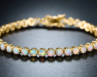 18K Gold Filled Opal Tennis Bracelet