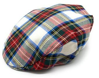 DRIVING HAT MADE IN BRITAIN GENTS PURE WOOL ROYAL SCOTTISH TARTAN FLAT CAP