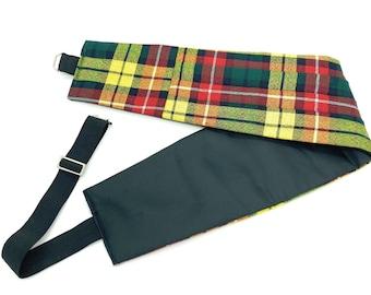 Gents Pure Wool Buchanan Modern Tartan  Cummerbund - Made in Scotland