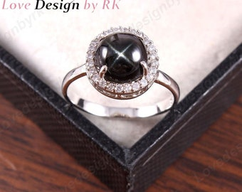 Adjustable Size Ring Star Diopside in .925 Sterling Silver