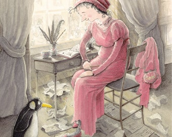 Jane Austen and the Penguin - Greeting Card