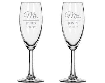 Personalized Champagne Wedding Flutes Mr and Mrs Etched Made in USA